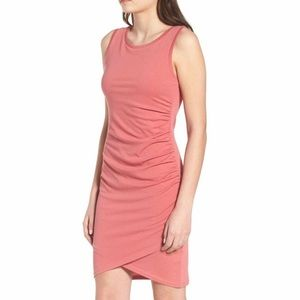 NWT Leith ruched tank dress coral pink sleeveless